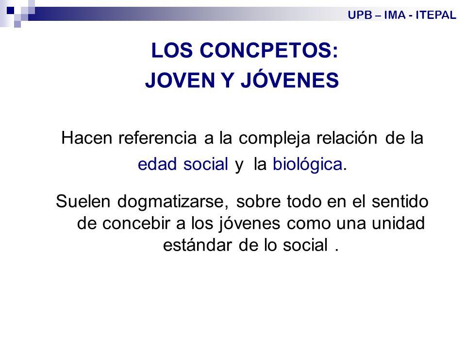 LOS CONCPETOS: JOVEN Y JÓVENES Hacen referencia a la compleja relación de la edad social y la biológica.