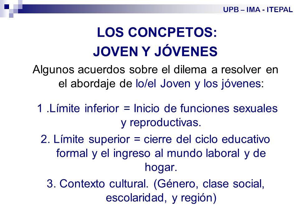 LOS CONCPETOS: JOVEN Y JÓVENES Algunos acuerdos sobre el dilema a resolver en el abordaje de lo/el Joven y los jóvenes: 1.Límite inferior = Inicio de funciones sexuales y reproductivas.