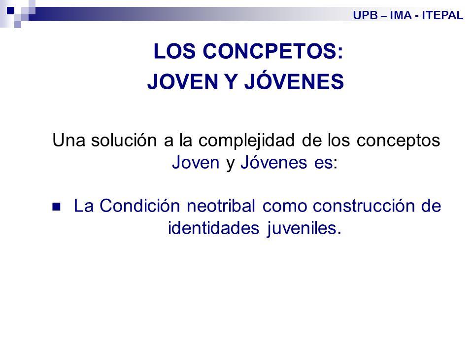 LOS CONCPETOS: JOVEN Y JÓVENES Una solución a la complejidad de los conceptos Joven y Jóvenes es: La Condición neotribal como construcción de identidades juveniles.