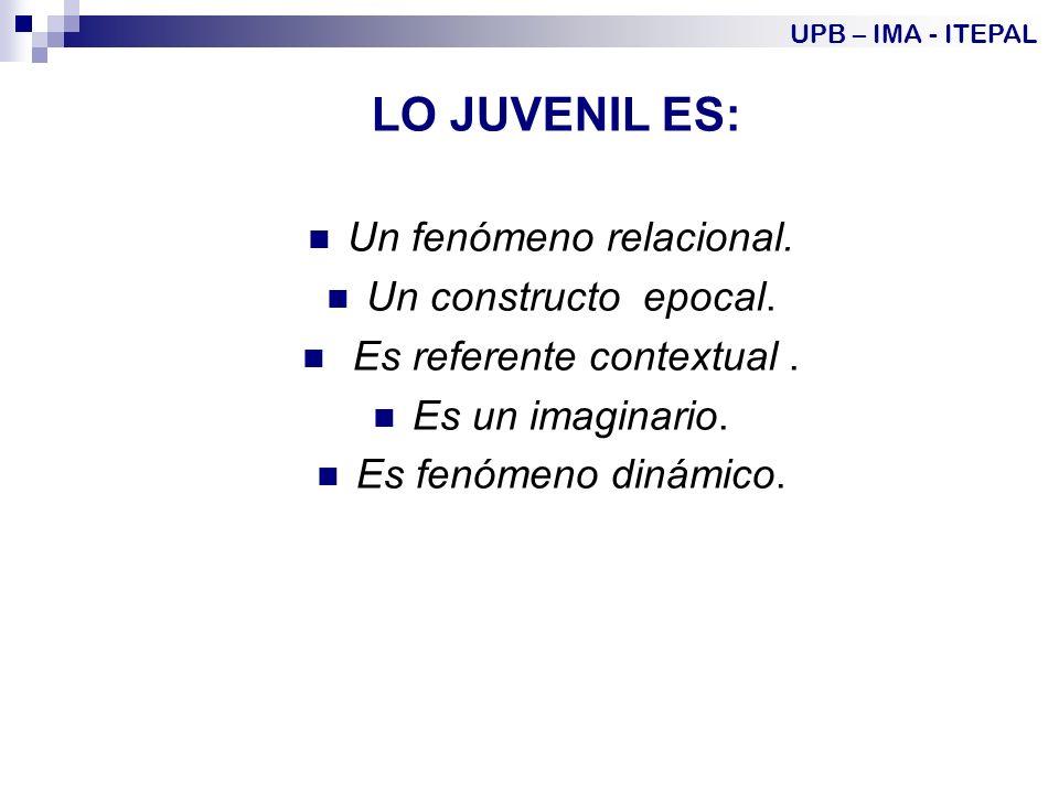 LO JUVENIL ES: Un fenómeno relacional.Un constructo epocal.