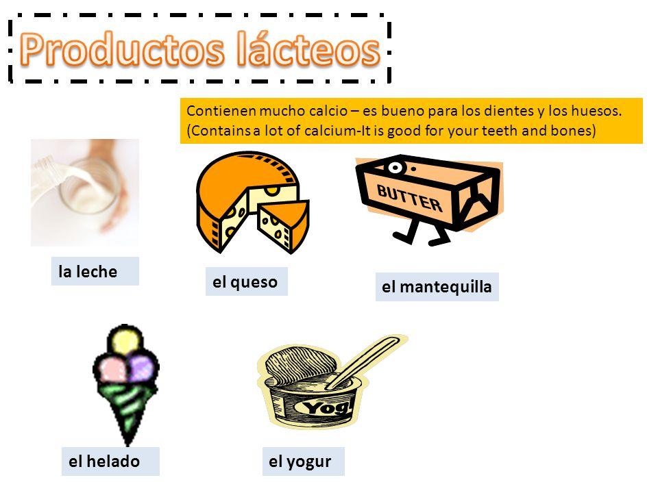 Contienen mucho calcio – es bueno para los dientes y los huesos. (Contains a lot of calcium-It is good for your teeth and bones) la leche el queso el