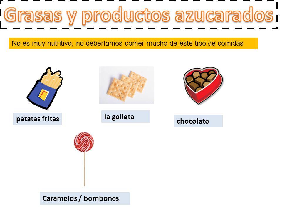 No es muy nutritivo, no deberíamos comer mucho de este tipo de comidas patatas fritas la galleta chocolate Caramelos / bombones