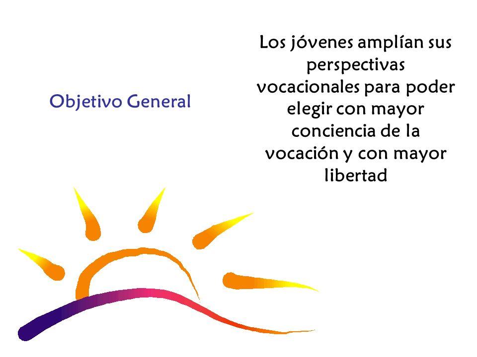 Objetivo General Los jóvenes amplían sus perspectivas vocacionales para poder elegir con mayor conciencia de la vocación y con mayor libertad