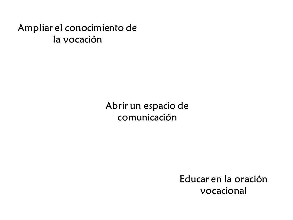 Ampliar el conocimiento de la vocación Abrir un espacio de comunicación Educar en la oración vocacional
