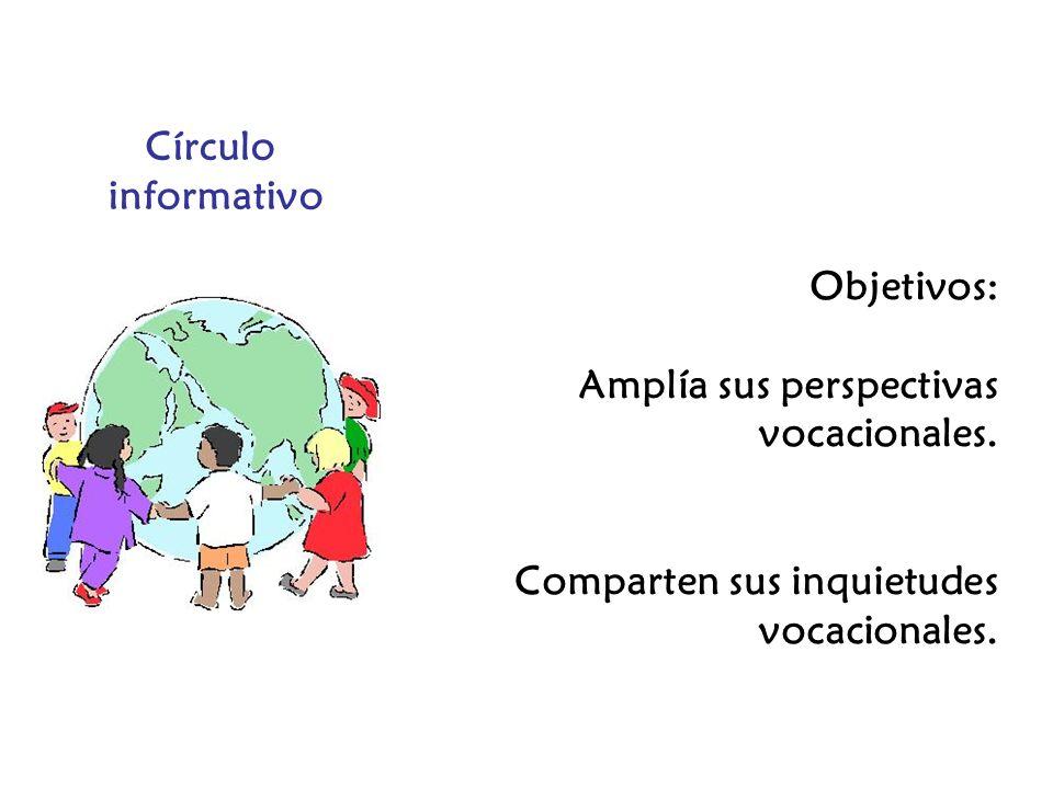 Círculo informativo Objetivos: Amplía sus perspectivas vocacionales. Comparten sus inquietudes vocacionales.