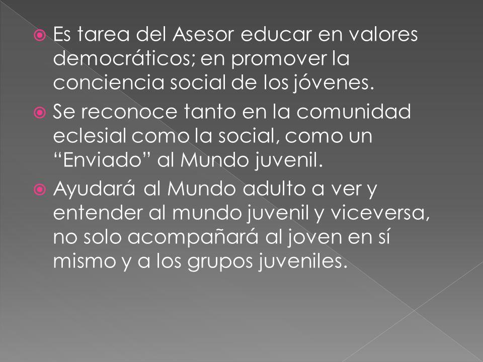 Es tarea del Asesor educar en valores democráticos; en promover la conciencia social de los jóvenes. Se reconoce tanto en la comunidad eclesial como l