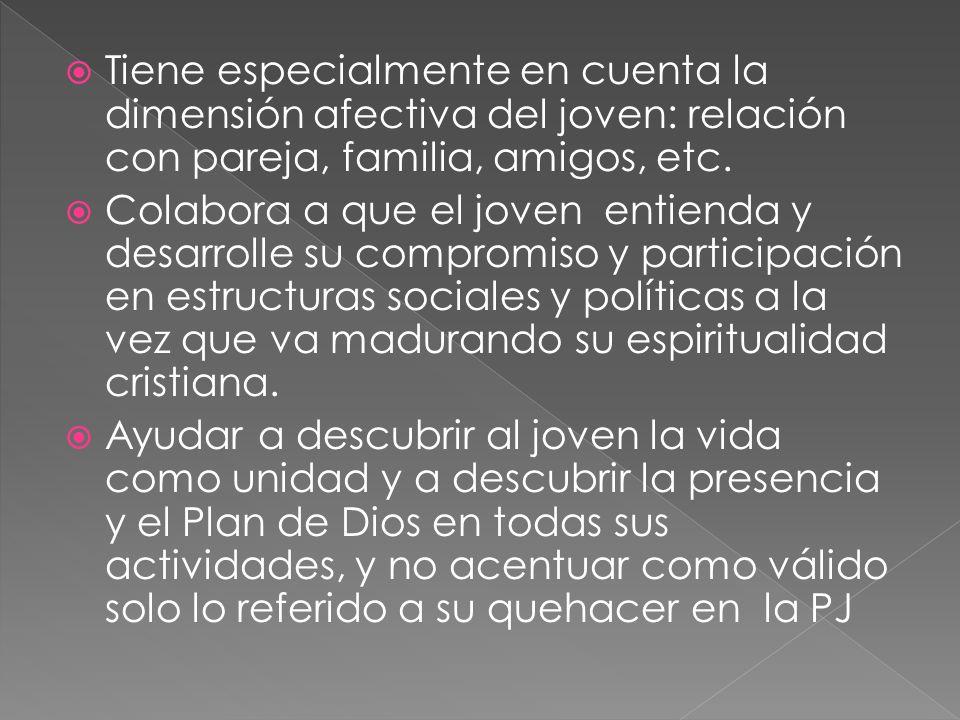 Tiene especialmente en cuenta la dimensión afectiva del joven: relación con pareja, familia, amigos, etc. Colabora a que el joven entienda y desarroll