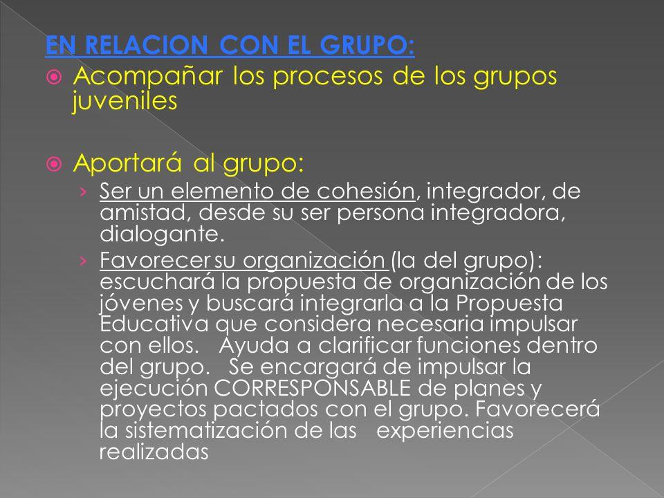 EN RELACION CON EL GRUPO: Acompañar los procesos de los grupos juveniles Aportará al grupo: Ser un elemento de cohesión, integrador, de amistad, desde