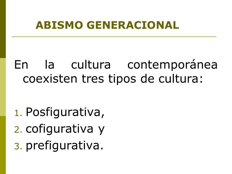ABISMO GENERACIONAL En la cultura contemporánea coexisten tres tipos de cultura: 1. Posfigurativa, 2. cofigurativa y 3. prefigurativa.