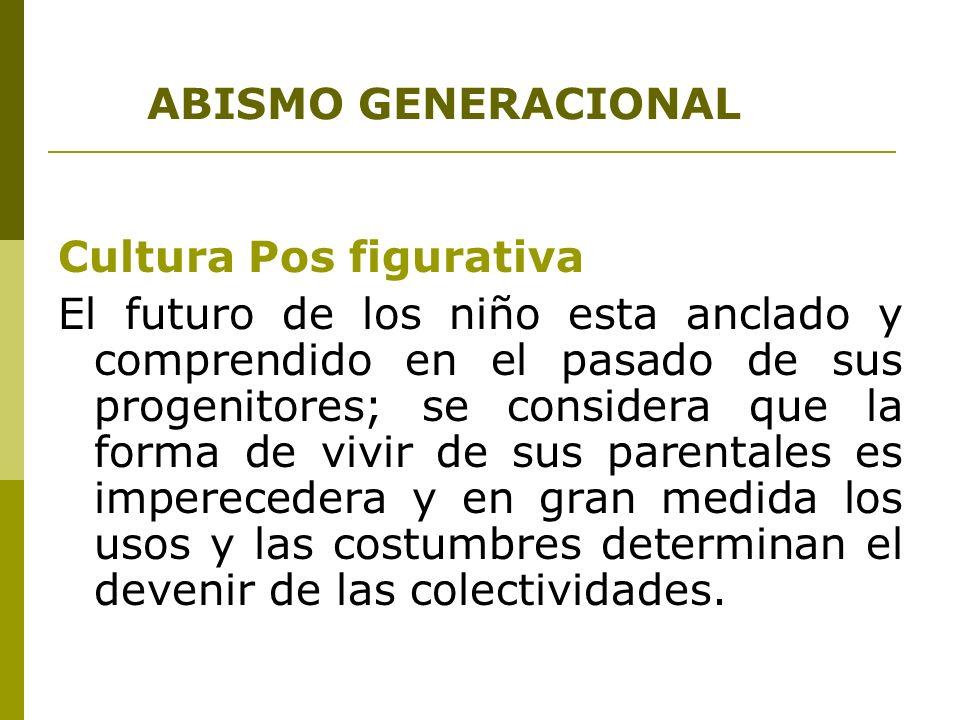 ABISMO GENERACIONAL Cultura Pos figurativa El futuro de los niño esta anclado y comprendido en el pasado de sus progenitores; se considera que la form