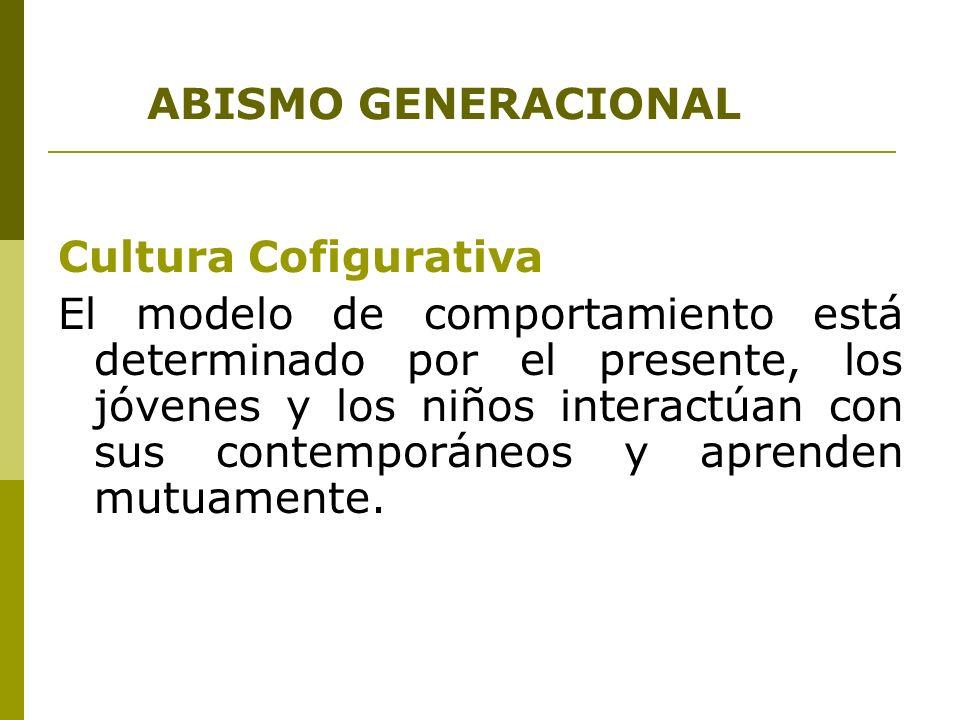 ABISMO GENERACIONAL Cultura Cofigurativa El modelo de comportamiento está determinado por el presente, los jóvenes y los niños interactúan con sus con