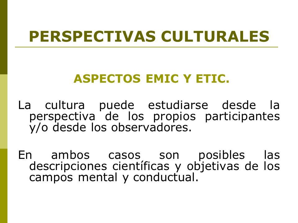 PERSPECTIVAS CULTURALES ASPECTOS EMIC Y ETIC. La cultura puede estudiarse desde la perspectiva de los propios participantes y/o desde los observadores