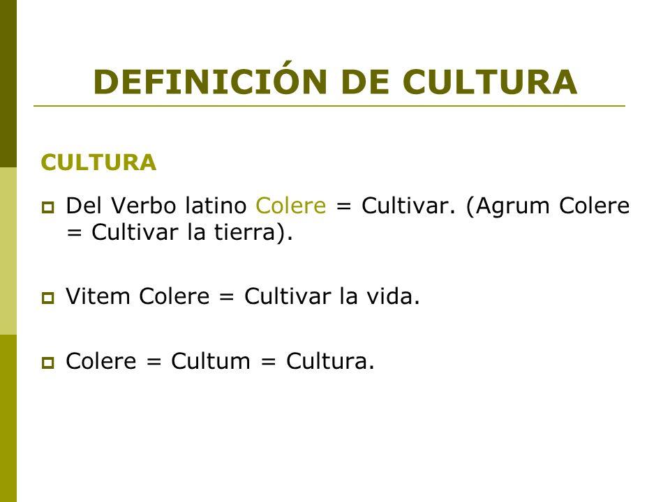 DEFINICIÓN DE CULTURA CULTURA Del Verbo latino Colere = Cultivar. (Agrum Colere = Cultivar la tierra). Vitem Colere = Cultivar la vida. Colere = Cultu