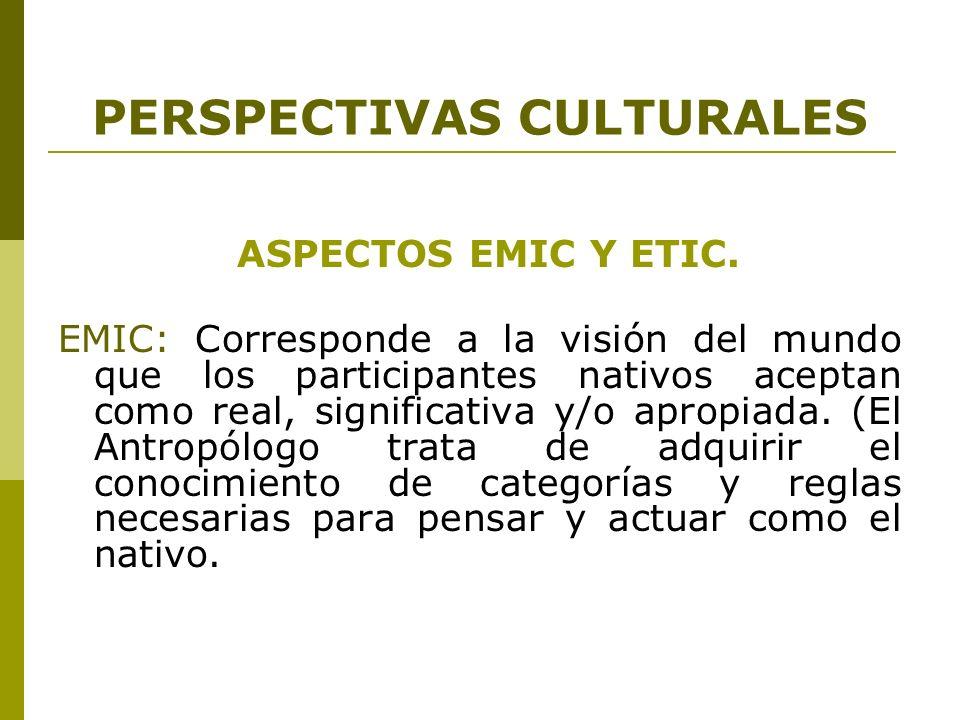 PERSPECTIVAS CULTURALES ASPECTOS EMIC Y ETIC. EMIC: Corresponde a la visión del mundo que los participantes nativos aceptan como real, significativa y