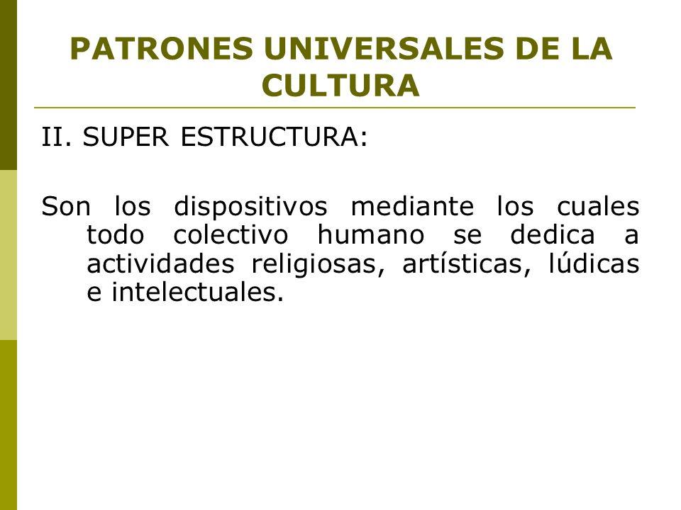 PATRONES UNIVERSALES DE LA CULTURA II. SUPER ESTRUCTURA: Son los dispositivos mediante los cuales todo colectivo humano se dedica a actividades religi
