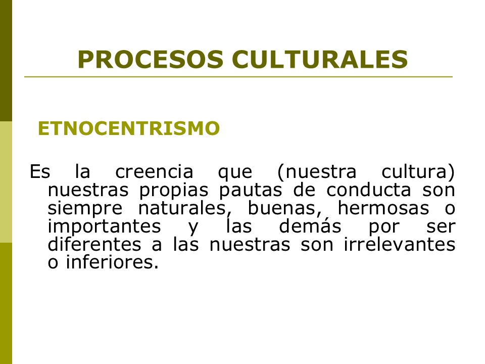 PROCESOS CULTURALES DIFUSIÓN Es la transmisión de rasgos culturales por vía generacional u otra de una cultura y sociedad a otra distinta.