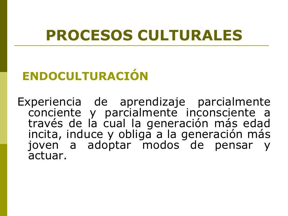 PROCESOS CULTURALES ACULTURACIÓN Proceso mediante el cual una cultura dominante impone por una o varios mecanismos sus patrones culturales a otra cultura.