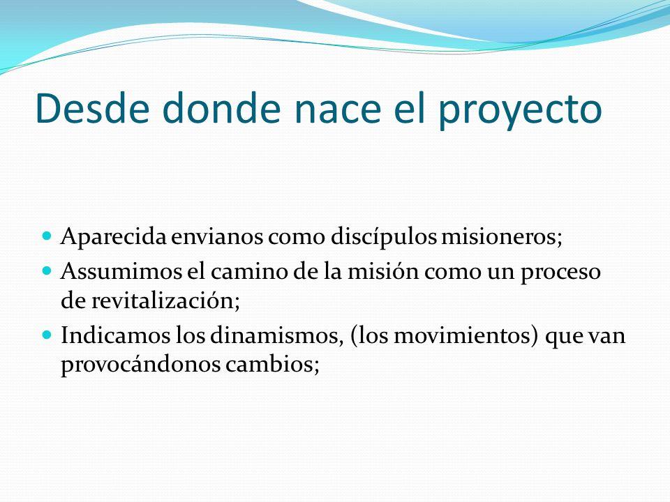 Desde donde nace el proyecto Aparecida envianos como discípulos misioneros; Assumimos el camino de la misión como un proceso de revitalización; Indica