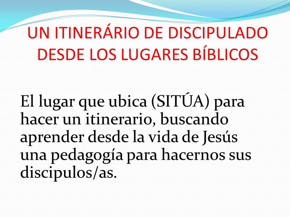 UN ITINERÁRIO DE DISCIPULADO DESDE LOS LUGARES BÍBLICOS El lugar que ubica (SITÚA) para hacer un itinerario, buscando aprender desde la vida de Jesús
