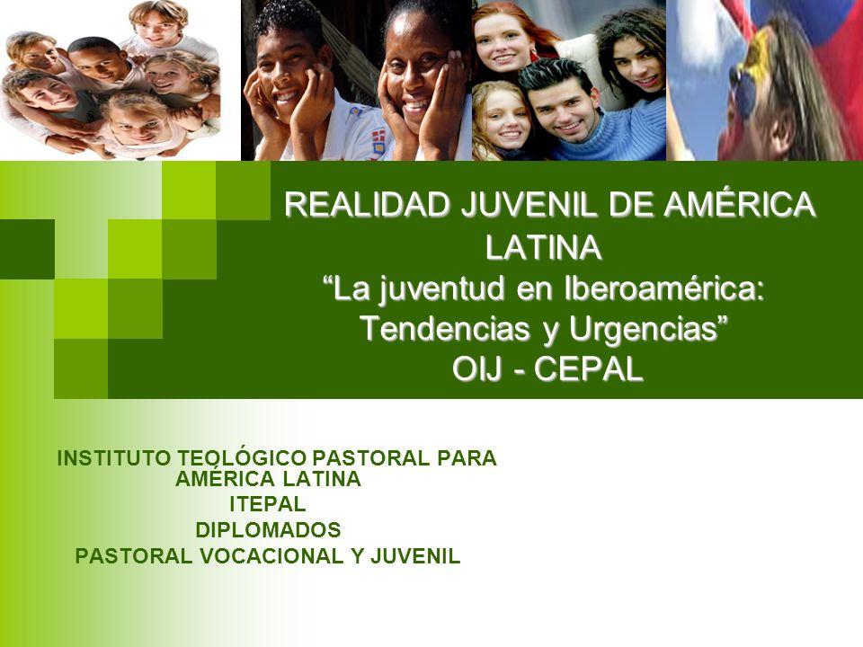 REALIDAD JUVENIL DE AMÉRICA LATINA La juventud en Iberoamérica: Tendencias y Urgencias OIJ - CEPAL INSTITUTO TEOLÓGICO PASTORAL PARA AMÉRICA LATINA IT