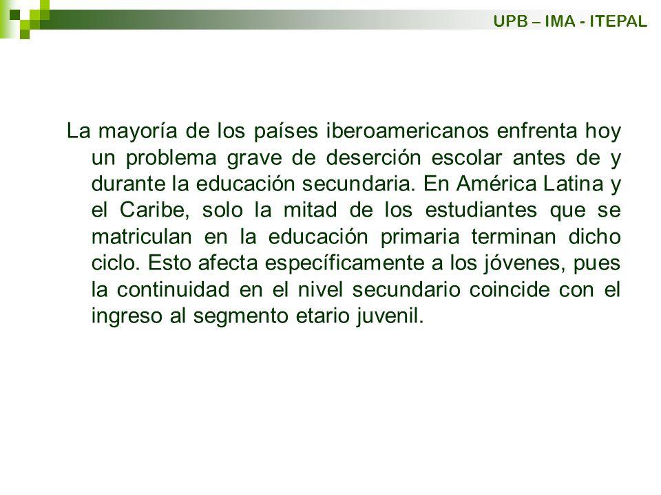 La mayoría de los países iberoamericanos enfrenta hoy un problema grave de deserción escolar antes de y durante la educación secundaria. En América La