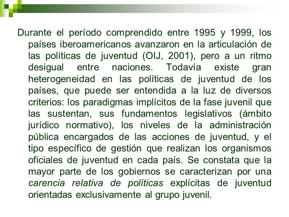 Durante el período comprendido entre 1995 y 1999, los países iberoamericanos avanzaron en la articulación de las políticas de juventud (OIJ, 2001), pe