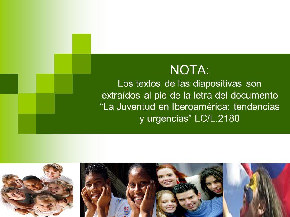 NOTA: Los textos de las diapositivas son extraídos al pie de la letra del documento La Juventud en Iberoamérica: tendencias y urgencias LC/L.2180