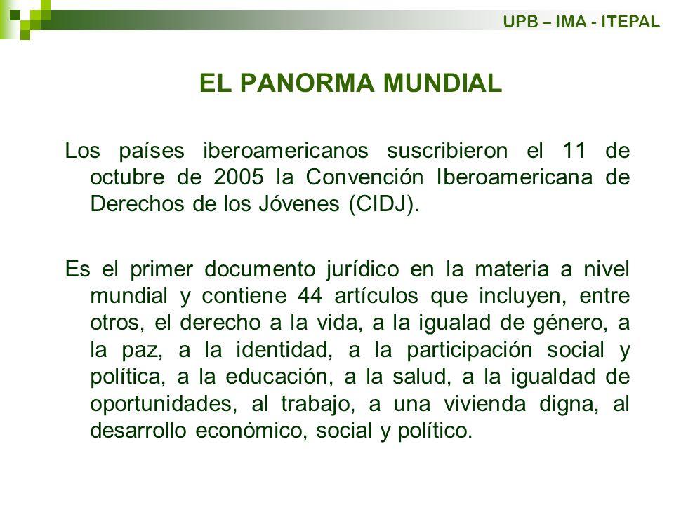 EL PANORMA MUNDIAL Los países iberoamericanos suscribieron el 11 de octubre de 2005 la Convención Iberoamericana de Derechos de los Jóvenes (CIDJ). Es