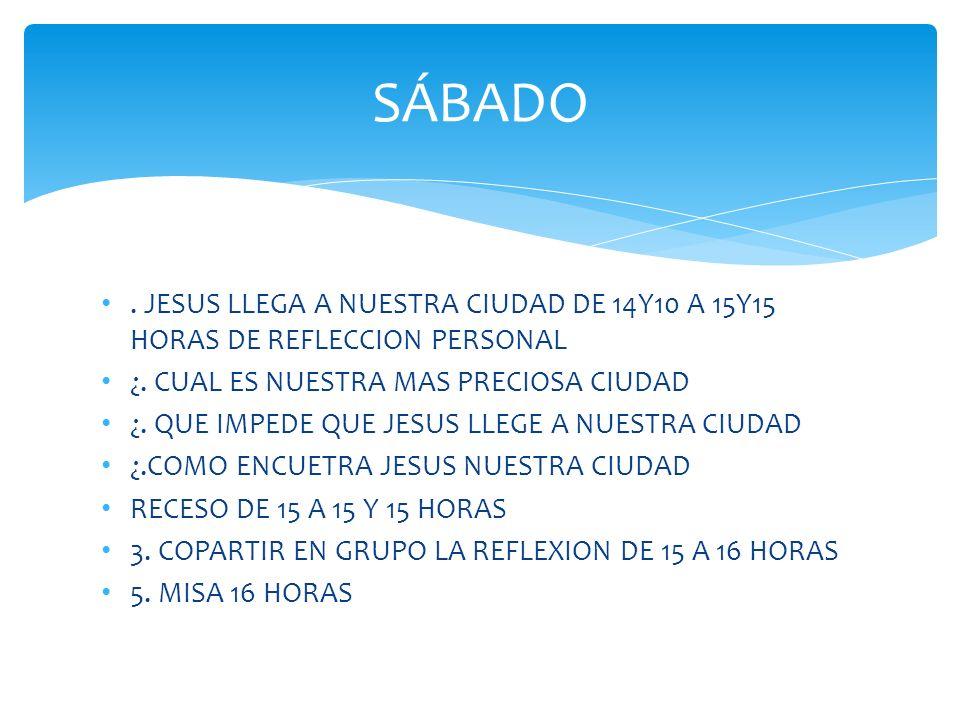 SÁBADO. JESUS LLEGA A NUESTRA CIUDAD DE 14Y10 A 15Y15 HORAS DE REFLECCION PERSONAL ¿. CUAL ES NUESTRA MAS PRECIOSA CIUDAD  ¿. QUE IM