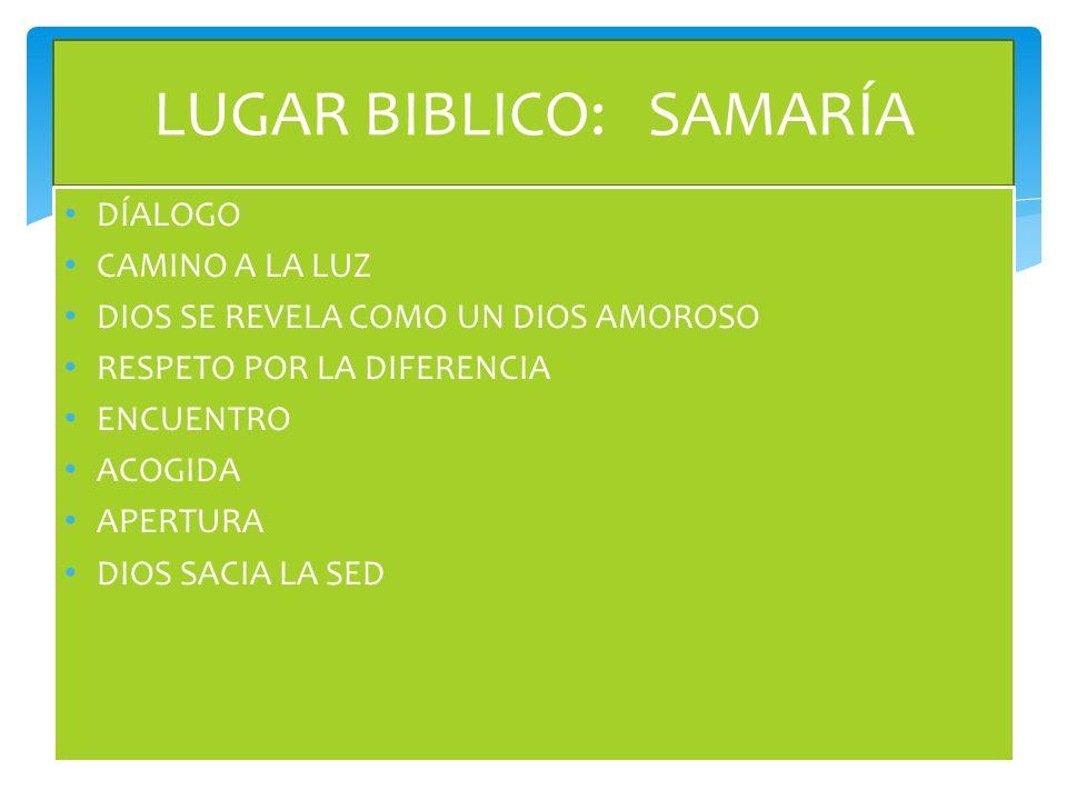 LUGAR BIBLICO: SAMARÍA DÍALOGO CAMINO A LA LUZ DIOS SE REVELA COMO UN DIOS AMOROSO RESPETO POR LA DIFERENCIA ENCUENTRO ACOGIDA APERTURA DIOS SACIA LA