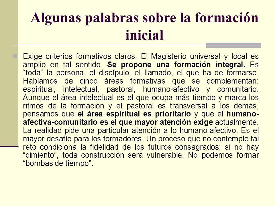 Algunas palabras sobre la formación inicial Exige criterios formativos claros. El Magisterio universal y local es amplio en tal sentido. Se propone un