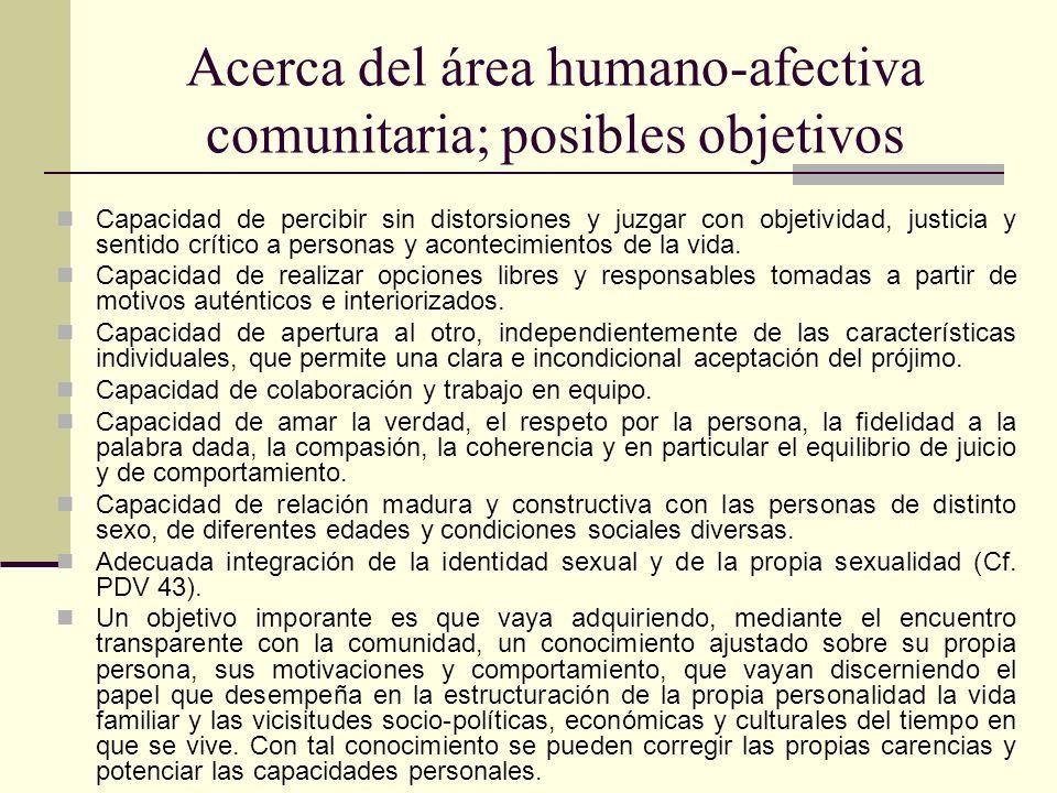 Acerca del área humano-afectiva comunitaria; posibles objetivos Capacidad de percibir sin distorsiones y juzgar con objetividad, justicia y sentido cr