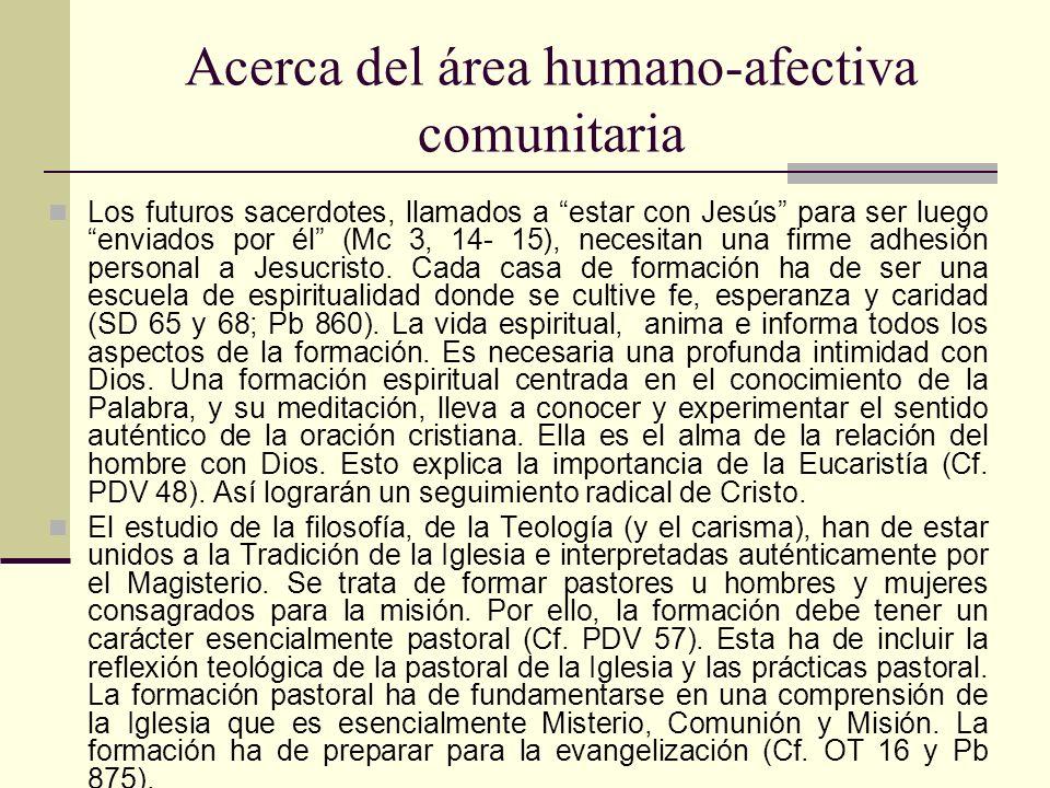 Acerca del área humano-afectiva comunitaria Los futuros sacerdotes, llamados a estar con Jesús para ser luego enviados por él (Mc 3, 14- 15), necesita