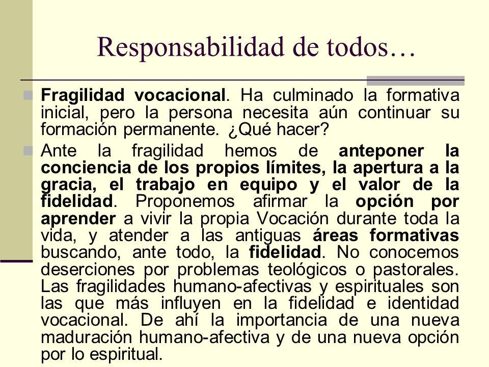 Responsabilidad de todos… Fragilidad vocacional. Ha culminado la formativa inicial, pero la persona necesita aún continuar su formación permanente. ¿Q