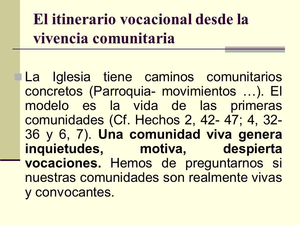 El itinerario vocacional desde la vivencia comunitaria La Iglesia tiene caminos comunitarios concretos (Parroquia- movimientos …). El modelo es la vid