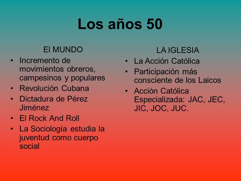 Los años 50 El MUNDO Incremento de movimientos obreros, campesinos y populares Revolución Cubana Dictadura de Pérez Jiménez El Rock And Roll La Sociol