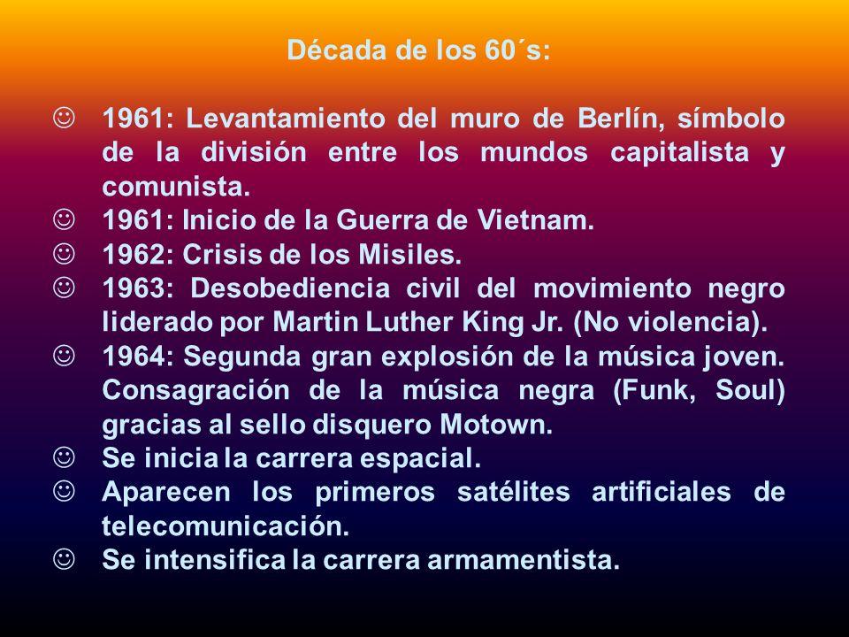 Década de los 60´s: 1961: Levantamiento del muro de Berlín, símbolo de la división entre los mundos capitalista y comunista. 1961: Inicio de la Guerra