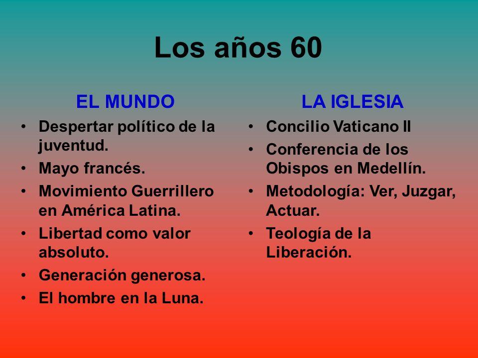 Los años 60 EL MUNDO Despertar político de la juventud. Mayo francés. Movimiento Guerrillero en América Latina. Libertad como valor absoluto. Generaci