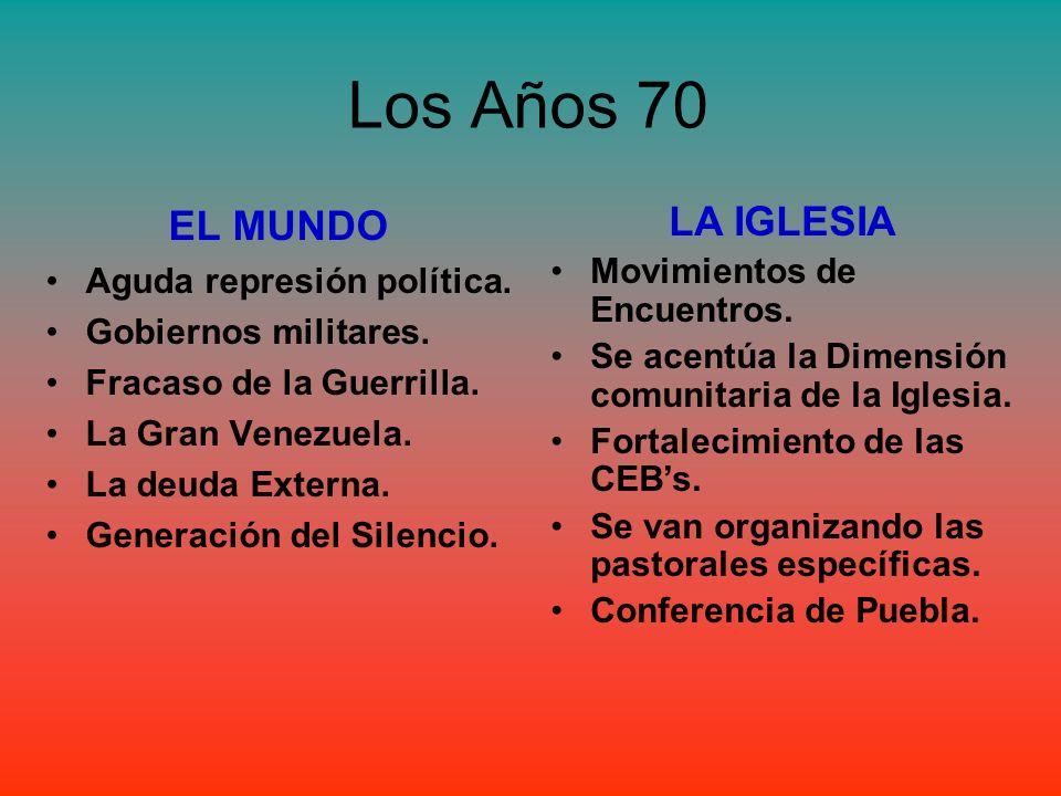 Los Años 70 EL MUNDO Aguda represión política. Gobiernos militares. Fracaso de la Guerrilla. La Gran Venezuela. La deuda Externa. Generación del Silen