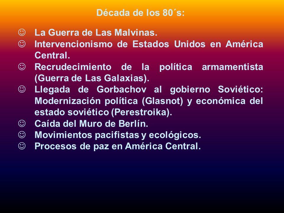 Década de los 80´s: La Guerra de Las Malvinas. Intervencionismo de Estados Unidos en América Central. Recrudecimiento de la política armamentista (Gue