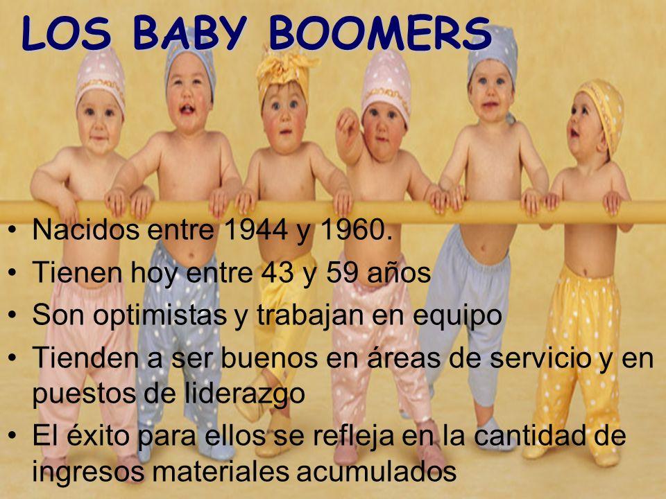 LOS BABY BOOMERS Nacidos entre 1944 y 1960. Tienen hoy entre 43 y 59 años Son optimistas y trabajan en equipo Tienden a ser buenos en áreas de servici