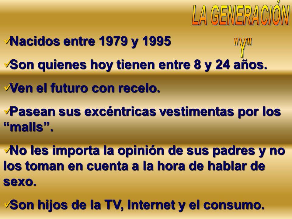 Nacidos entre 1979 y 1995 Nacidos entre 1979 y 1995 Son quienes hoy tienen entre 8 y 24 años. Son quienes hoy tienen entre 8 y 24 años. Ven el futuro