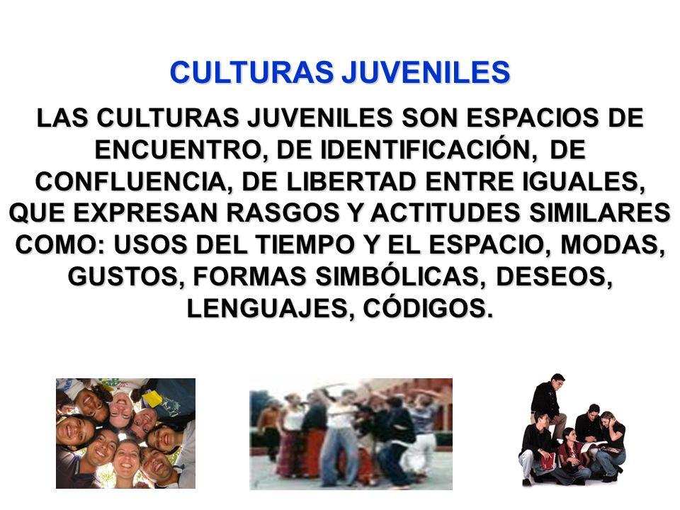 LAS CULTURAS JUVENILES SON ESPACIOS DE ENCUENTRO, DE IDENTIFICACIÓN, DE CONFLUENCIA, DE LIBERTAD ENTRE IGUALES, QUE EXPRESAN RASGOS Y ACTITUDES SIMILA