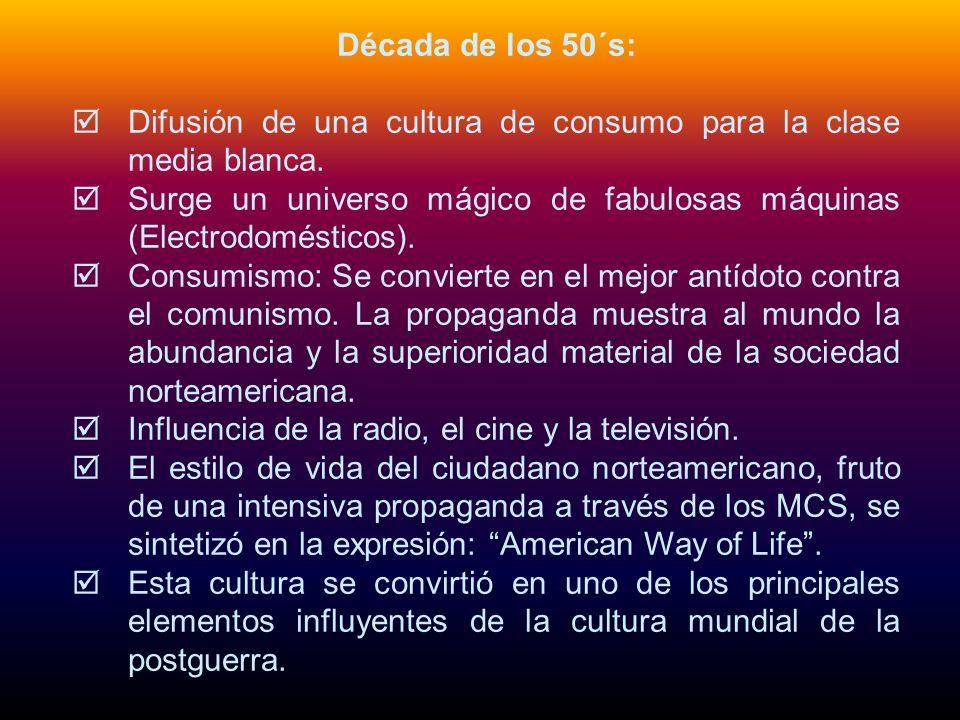 Década de los 80´s: La llegada de los 80 confirmó las tendencias conservadoras y consumistas desencadenadas por la industria cultural en la década anterior.
