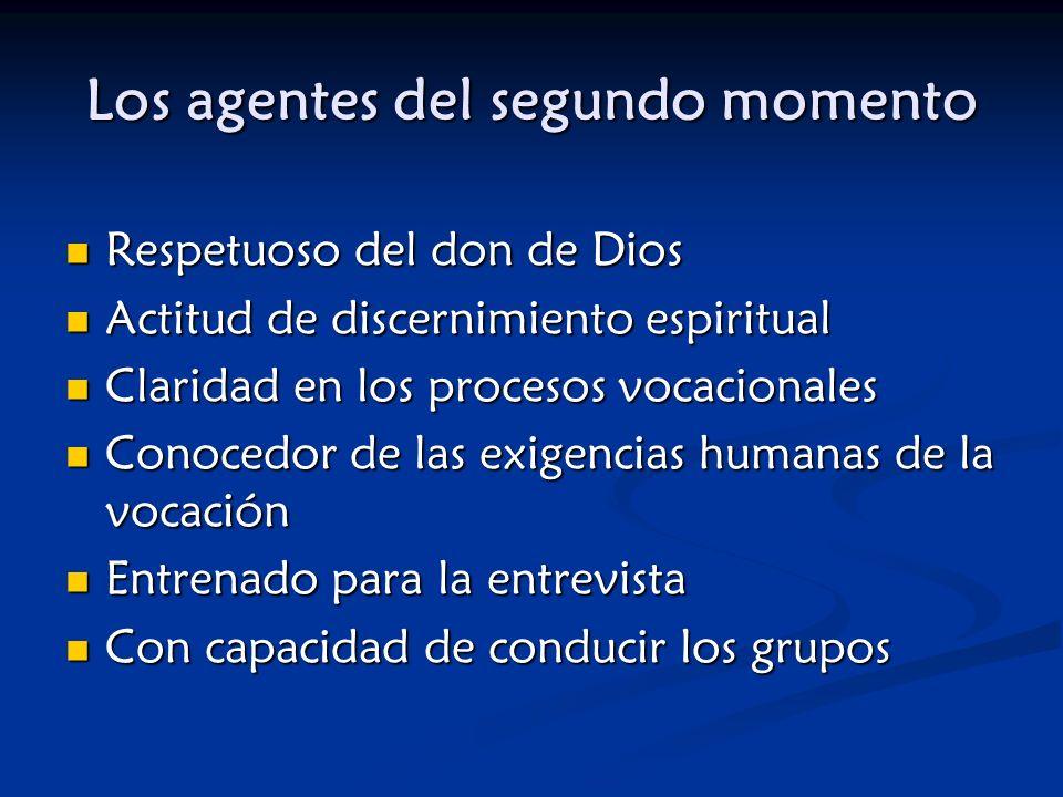 Los agentes del segundo momento Respetuoso del don de Dios Actitud de discernimiento espiritual Claridad en los procesos vocacionales Conocedor de las