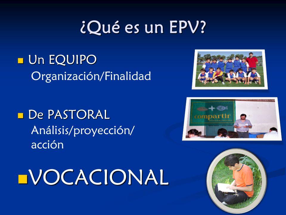 ¿Qué es un EPV? Un EQUIPO Un EQUIPO De PASTORAL De PASTORAL VOCACIONAL VOCACIONAL Organización/Finalidad Análisis/proyección/ acción