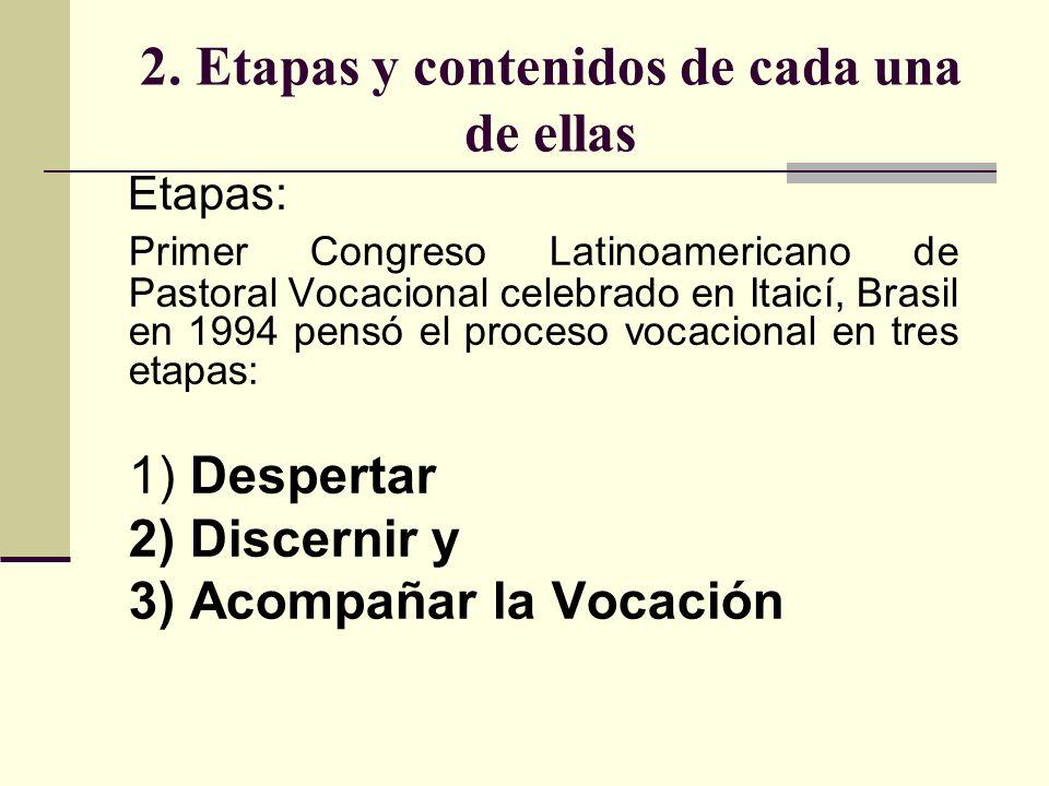 2. Etapas y contenidos de cada una de ellas Etapas: Primer Congreso Latinoamericano de Pastoral Vocacional celebrado en Itaicí, Brasil en 1994 pensó e