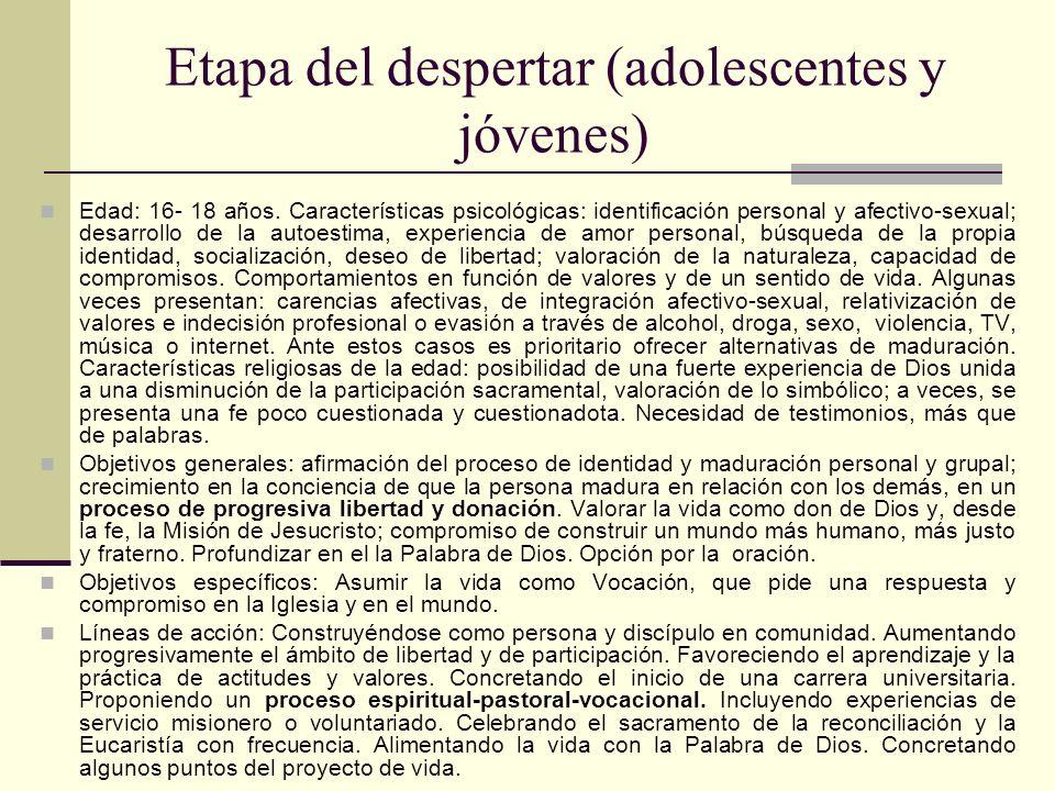 Etapa del despertar (adolescentes y jóvenes) Edad: 16- 18 años. Características psicológicas: identificación personal y afectivo-sexual; desarrollo de