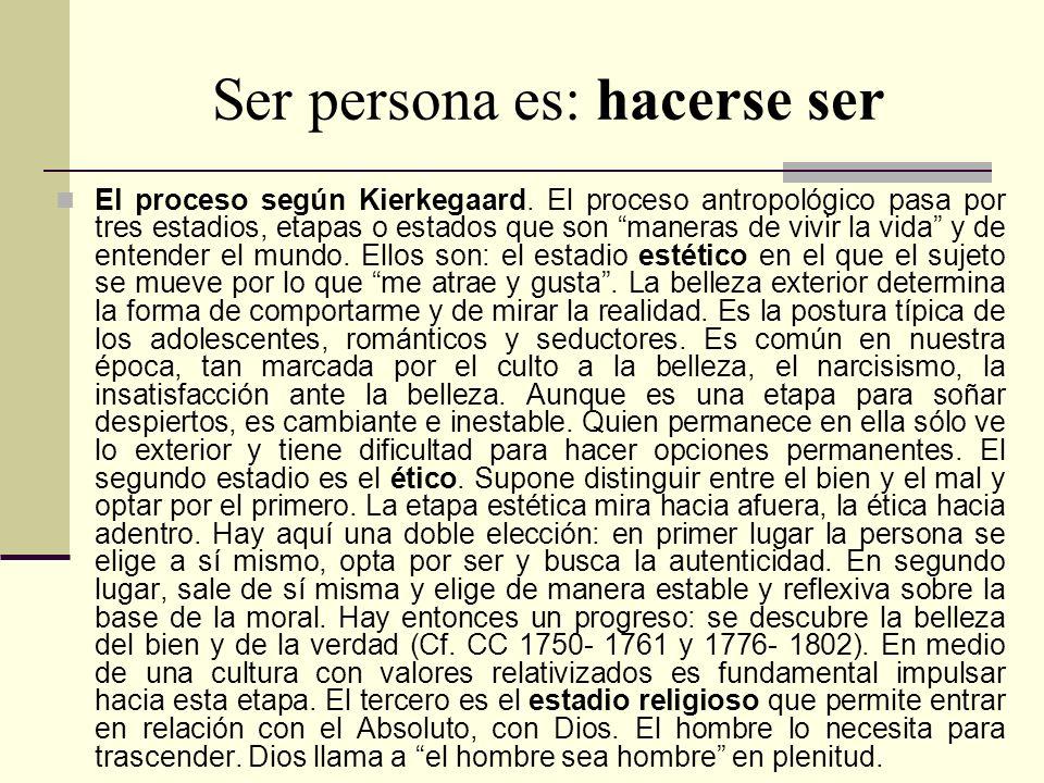 Ser persona es: hacerse ser El proceso según Kierkegaard. El proceso antropológico pasa por tres estadios, etapas o estados que son maneras de vivir l