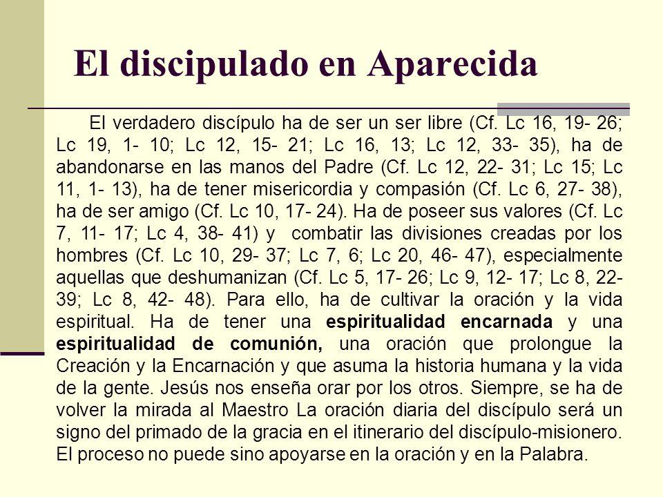 El discipulado en Aparecida El verdadero discípulo ha de ser un ser libre (Cf. Lc 16, 19- 26; Lc 19, 1- 10; Lc 12, 15- 21; Lc 16, 13; Lc 12, 33- 35),